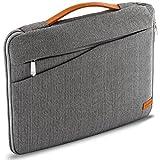 deleyCON Notebook-Tasche für Notebook / Laptop bis 15,6' (39,6cm) Hülle aus robustem Nylon - 2 Zubehörfächer und verstärkte Polsterwände - Grau/Braun