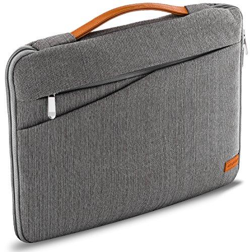 deleyCON-Notebook-Tasche-fr-Notebook-Laptop-bis-156-396cm-Hlle-aus-robustem-Nylon-2-Zubehrfcher-und-verstrkte-Polsterwnde-GrauBraun