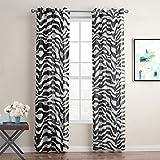 Gwell 1 Pièce Zebra Rideaux Demi Transparent Noir et Blanc pour Fenêtre Chambre Salon Cuisine 240x140 cm (LxW)