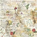 Paper Moon - Decoupage - Tovagliolo Carta di riso Fiori e poesie