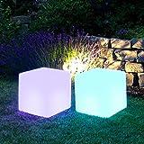 Multistore 2002 Beleuchteter Kubus 30x30x30cm mit Akku RGB LED-Beleuchtung Farbwechsel und Fernbedienung für Innen/Außen Leuchtwürfel Sitzhocker Batteriebetrieb Gartenleuchte