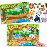 Bilder und Aufkleber mit Dschungeltieren für Kinder zum Gestalten, Basteln und Aufstellen – Kreatives Bilder-Bastelset für Kinder (4 Stück)