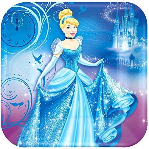 Cinderella 23cm Square Plate, 8 Count, Party Supplies
