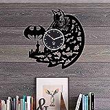 Batman Ben Affleck Gotham Knight Hero disque vinyle Meilleur Cadeau pour les fans, Kovides Vinyle Horloge murale Home Decor, décoration Salon inspirants Comics Marvel DC film, Mécanisme Silencieux, Sticker mural