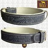 Woza Premium HUNDEHALSBAND 3,3/55CM Flowers Vollleder Rindleder Nappa Handmade Collar