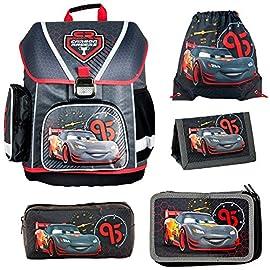 Disney-Cars-Schulranzen-Jungen-1-Klasse-Tornister-Schulrucksack-Schultasche-SET-5-teilig-fr-Grundschule-super-leicht