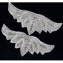 DM Splendidi Abbellimenti termoadesivi o da cucire decorato con perline 16cm x 6cm (DM10)