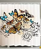 KRISTI MCCARTNEY Ecru Shower Curtain Butterfly Decor, Monarch Butterflies Vintage and Damask Ombre Background Pattern, Fabric Bathroom Shower Curtain, 84 Inches Extra Long, Monarch Turquoise Ecru