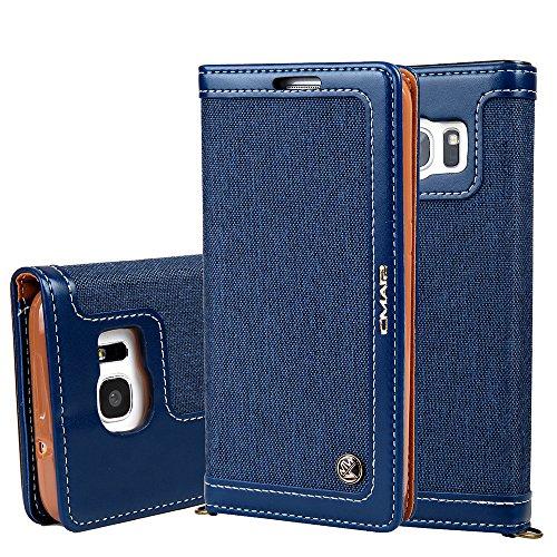 """Preisvergleich Produktbild Samsung Galaxy S7 Edge 5,5"""" Leder Hülle Flip Case Handytasche und Brieftasche mit Standfunktion Kredit Karten Fach mit Unsichtbarem Magnet,Blau"""