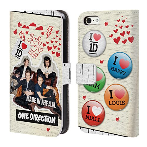 Offizielle One Direction Sofa Harry Made In The A.m. Brieftasche Handyhülle aus Leder für Apple iPhone 5 / 5s / SE Sammelalbum W