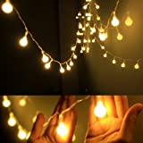 Dailyart - Stringa di luci a Forma di Globo alimentate a Batteria, 40 LED, 8 modalità, Luce Decorativa Impermeabile, Luce Bia