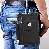 Hengying Herren Männer Nylon Kleine Umhängetasche Gürteltasche Mini Handy Tasche mit Gürtelclip Reißverschluss für iPhone 7 Plus 6S Plus 6S Galaxy S8 Plus S7 J5 Xperia Xa1 5'' 5,5'' (Schwarz) - 3