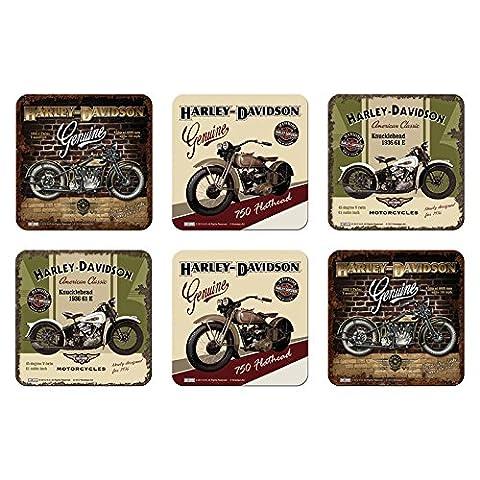 6 tlg Set Untersetzer - 9 x 9 cm - Harley-Davidson Set Nr. 6