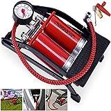 Pompe à double cylindre acier manomètre max 7 bar vélo pneus 2 x 100mm matelas