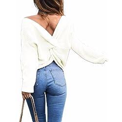 ... Emma Mujer Jersey de Punto Primavera Su ter de Cuello V de Espalda de  Las Mujeres ... fa2f79ca1c49