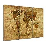 Kunstdruck - Weltkarte Retro II farbig - Bild auf Leinwand - 120x80 cm 3tlg - Leinwandbilder - Urban & Graphic - Erde - grafische Darstellung - detailliert - einmalig