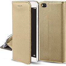 Funda Huawei P8 Lite Dorado - Flip cover Smart magnética de Moozy® con Stand plegable y soporte de silicona