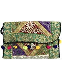 Shubhangi Women's Shoulder Sling Bag (Jaipuri Embroidered Handicraft Traditional Bags,Stylish Wedding Bag,Multi-Coloured... - B0781WDZ86