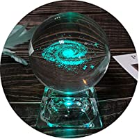 FTYtek La Bola Cristal de Galaxia Cuenta con una Base iluminada y la Bola Cristal de Galaxia Dispone de una Base de LED de 7 Colores día de cumpleaños para los niños
