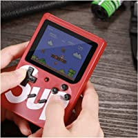 Roqer Colourful LCD Screen USB Rechargable Portable SUP Handheld Classic Retro Video Gaming Player Game Console with 400 in 1 Classic Old Games (Red)