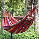 "Popamazing 75Lx 31.5"" W Red Outdoor Garden Back Yard Travel Camping Colour Stripe Hammock Hang Bed"