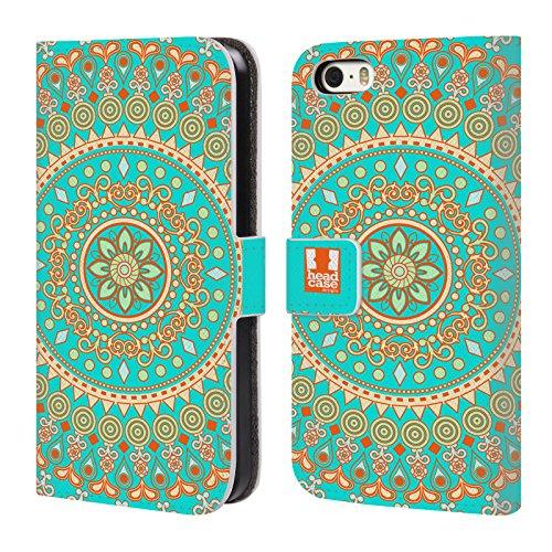 Head Case Designs Tangeriner Zirkus Mandala Brieftasche Handyhülle aus Leder für Apple iPhone 5 / 5s / SE Türkiser Traum