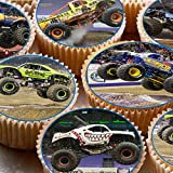 24 Kuchen Topper 4 cm auf Zuckerguss Cupcake Bilder – Monster Trucks
