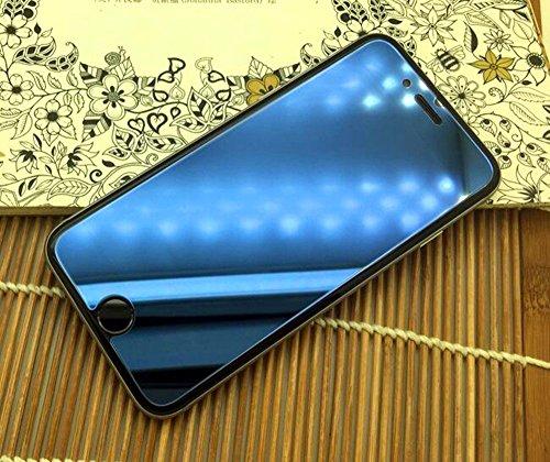 Preisvergleich Produktbild Delmkin iPhone Schutzfolie 3D Touch Bunte Panzerglas Schutzfolie mit Spiegel-Effekt/ NEU Spiegel-Displayfolie Schutzglas - für Apple iPhone (iPhone5/5S, Blau)