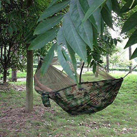 SKL portátil de alta resistencia Parachute Tela Hamaca para colgar cama con mosquitera para Camping viaje, multicolor
