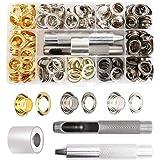 VALICLUD 120-Delige Metalen Tentoogknopset Met 3-Delig Gereedschap Stevig Breisel Met Doorvoertules