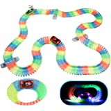 Akokie Circuito Coches Niños Luminoso Pista Coches con 2 LED Coches de Juguetes Niños para 3 4 5 6 años (240 Piezas)