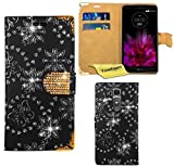 LG G Flex 2 Hülle, FoneExpert® Bling Luxus Diamant Hülle Wallet Case Cover Hüllen Etui Ledertasche Premium Lederhülle Schutzhülle für LG G Flex 2 + Bildschirmschutzfolie (Schwarz)