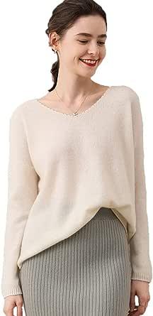 Greenf Cashmere Maglioncino Femminile 100% Cashmere Inverno Autunno V-Collo Versatile Pullover