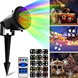 Kyerivs Christmas LED Projector Light with 15 Replaceable Patterns, RF Remote Control, IP65 Waterproof for Decoration Lighting on Christmas Halloween Holiday Party