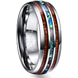 NUNCAD Tungsten Unisex Ring 8mm Matrimonio, Fidanzamento, Stile di Vita e Idea Regalo, Anello Donna/Uomo Argento con Conchigl