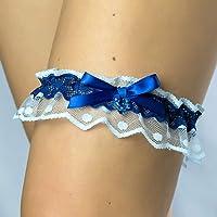 B55 Giarrettiera di pizzo matrimonio sposa biancheria intima regali de nozze addio al nubilato blu
