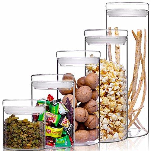 Storage Jar / Containers/storage Boxes, Sealed Glass Canister Kitchen Crops Flower Tea Milk Powder Medicine Storage Jars Glass Bottles, Set Of 5