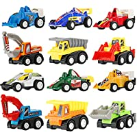 LEHII Toys Cars for Boys, Boys Toys 12 Pcs Pull Back Cars and Construction Trucks for Age 2 3 4 Years Old Boys and Girls Toddlers Kids Toys Gift