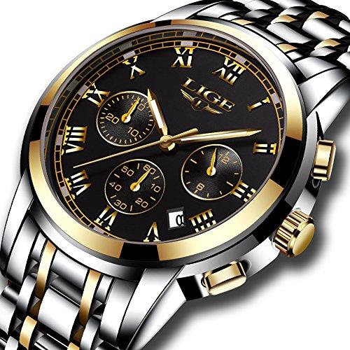 Gold-silber-uhr-band (Herren Uhren Wasserdichte Edelstahl Sport Analog Quarzuhr Herren LIGE Luxus Fashion Business Uhr Gold Schwarz Runde Uhr)