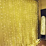 Fairy Light Curtain, Ucharge 300 Led Christmas Light Curtain String Lights, 9.8feet Window Curtain Icicle Lights, 8mode Warm White Wedding Decor Light Kitchen/Bedroom String Light - Led Curtain 29V