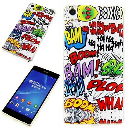 Handy Lux® Schutz Hülle Etui Silikon TPU Case Cover Design Motiv für LG L90 - Comic HAHA (Lg L90 Handy-hülle)