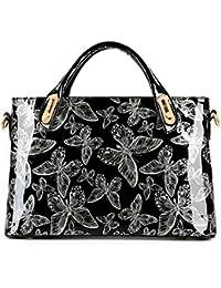Yanxi Womens Patent Leather Multi Pocket Butterfly Shoulder Tote Fashion Handbag (Silver)