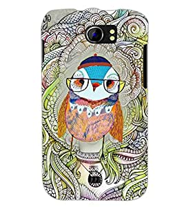 PrintDhaba Owl D-3853 Back Case Cover for MICROMAX A110 CANVAS 2 (Multi-Coloured)