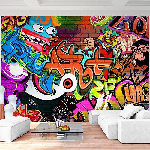Sfondo fotografico graffiti stone wall 352 x 250 cm lana sfondo salotto camera da letto ufficio corridoio decorazione murali decorazione da muro moderna - 100% fatti in germania - 9068011a