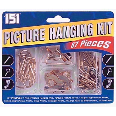 151 Picture Hanging Kit DIY 87 Piece Inc Hooks Nails Brackets Hooks Wire Hang by 151