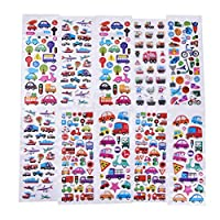 Diyiming 10 Sheets Mixed Transportation Car Stickers with Car, Airplane, Steamship, Train, Motorcycle - PVC Transportation Stickers for Kids
