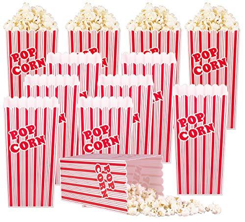 infactory Popcorntüten: 12er-Set Wiederverwendbare Popcorn-Boxen, 2 Liter, rot-weiß gestreift (Popcornbecher)
