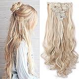 """Haarteil Clip in Extensions wie Echthaar Honigblond/Blond 8 Tresssen günstig komplette Haarverlängerung Gewellt 24""""(60cm)-140g"""