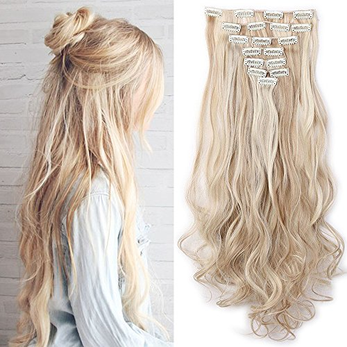 """Haarteil Clip in Extensions wie Echthaar Honigblond/Blond 8 Tresssen günstig komplette Haarverlängerung Gewellt 24\""""(60cm)-140g"""