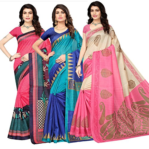 Oomph! Women's Raw Silk Printed Sarees Combo - Multi_combo3_837684pink